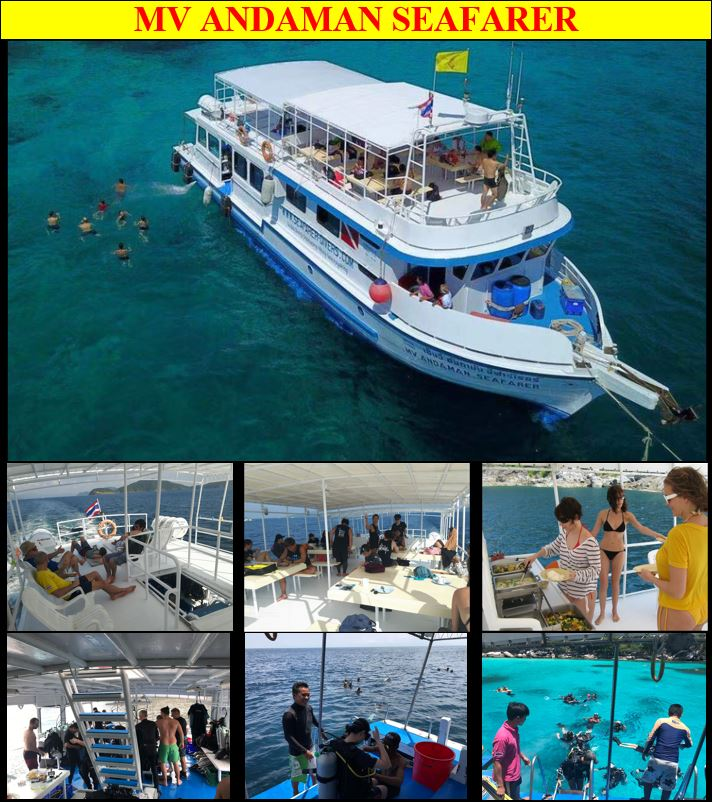 Phuket scuba diving liveaboard trips to Mu Koh Surin Islands Marine National Park and Richelieu Rock, Koh Ha Yai, Hin Daeng & Hin Muang and Tarutao with CMAS PADI SSI Diving Training Courses