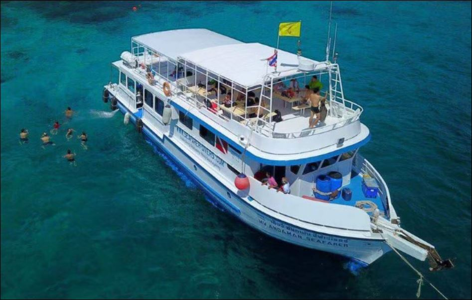 From Phuket, a day-long of scuba diving, freediving and snorkelling tour to Racha Yai Island and CMAS PADI SSI dive training courses with our boat MV Andaman Seafarer